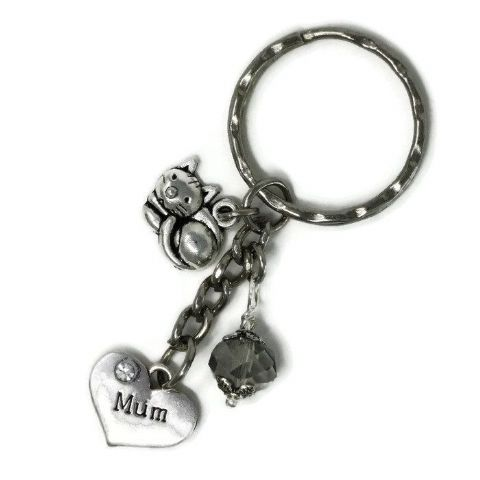 Silver Tone Keyring (M322) - Mum Heart with Cat & Bead with Clear Bead